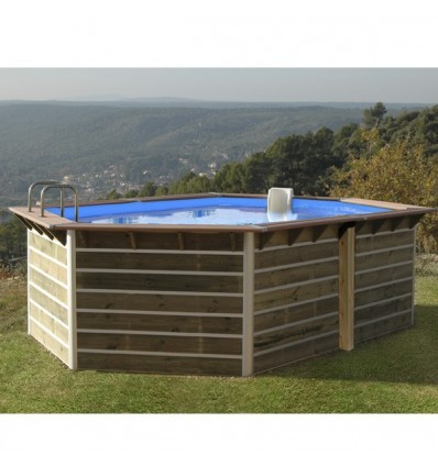 Piscine bois semi enterr e toute quip e et compl te for Dimension piscine semi enterree
