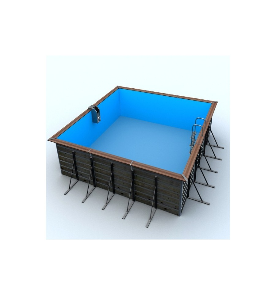 Piscine bois toute quip e 3 implantations possible compl te for Piscine carree semi enterree