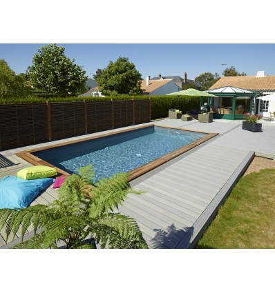Piscine hors sol maeva 800 en bois rectangulaire finition for Piscine semi enterree rectangulaire
