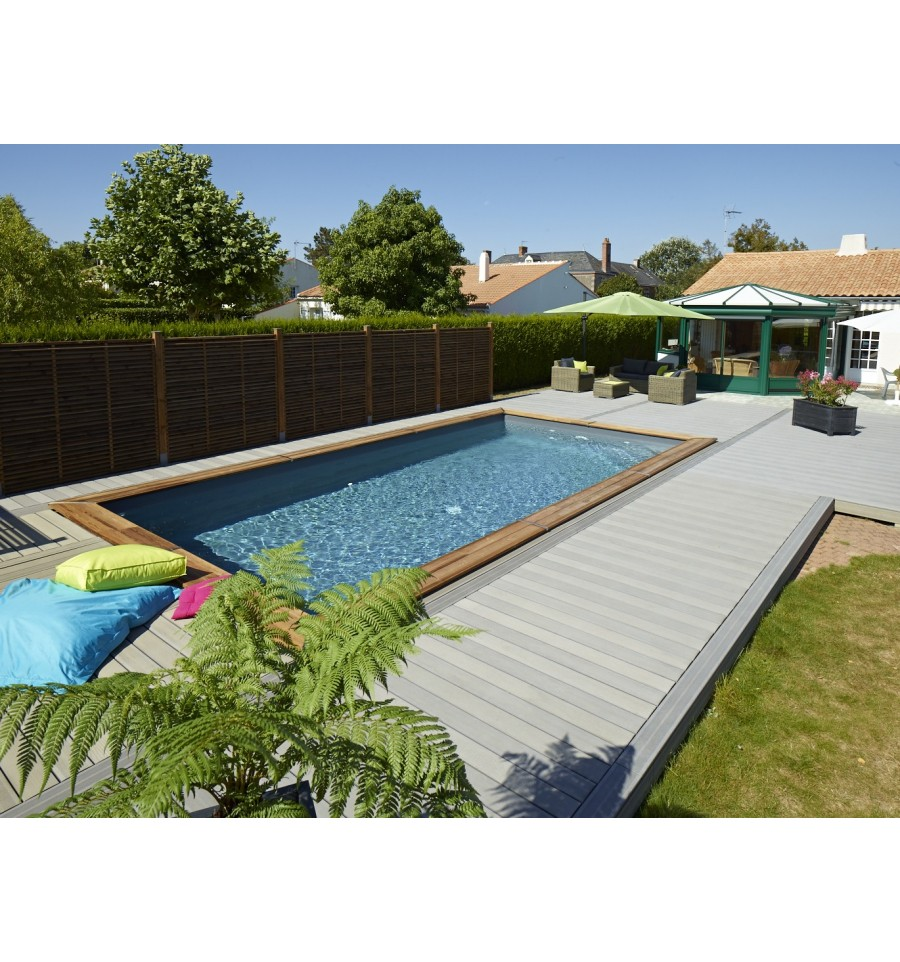 Piscine hors sol maeva 800 en bois rectangulaire finition for Piscine en teck semi enterree