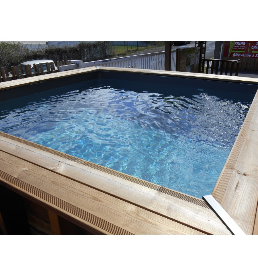 Piscine semi enterr e en bois d ext rieur dolcevita for Kit piscine bois semi enterree
