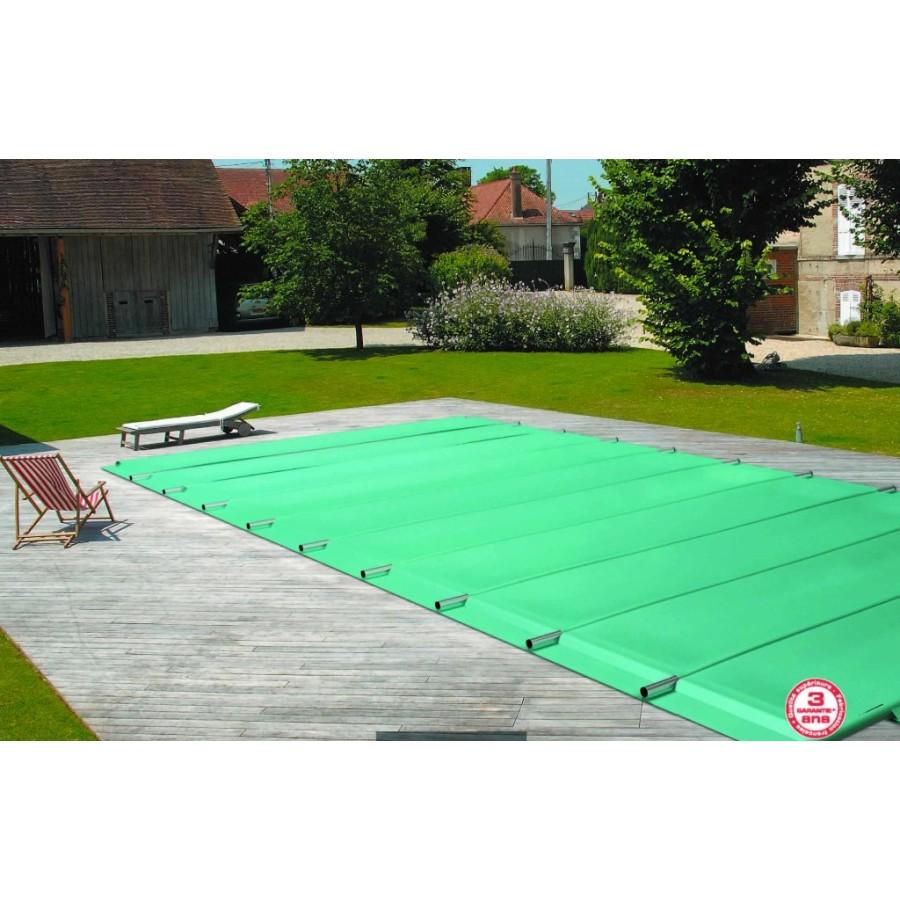 Bache à barres de sécurité sur mesure pour piscine rectangle 6x3