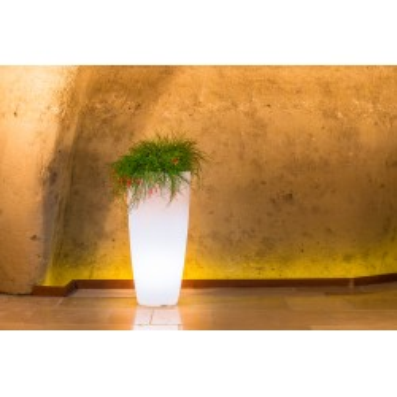 Pot lumineux STILO ROUND design petit modèle pour l'extérieur